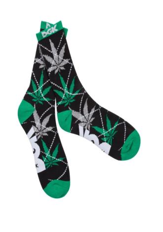 DGK Stay Smokin' Argyle Socks in Black/Green