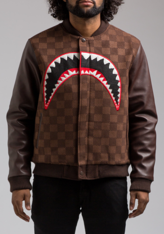 HUDSON Shark Mouth Varsity Jacket in Brown